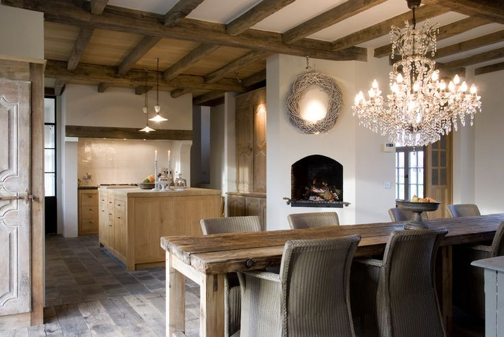 Rustic Kitchen / Dining with Fireplace