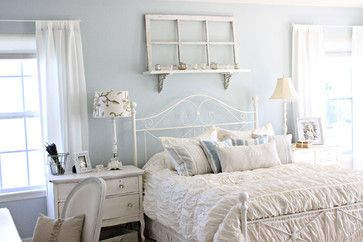 This blue is one I almost considered for a bedroom. I was thinking of a Wedgewood-style blue and had picked a couple of other shades that looked close to it, but turned out to be darker. In the end, I opted for Light Blue.  Still, Borrowed Light is a popular shade of blue and might be something I try in the future.