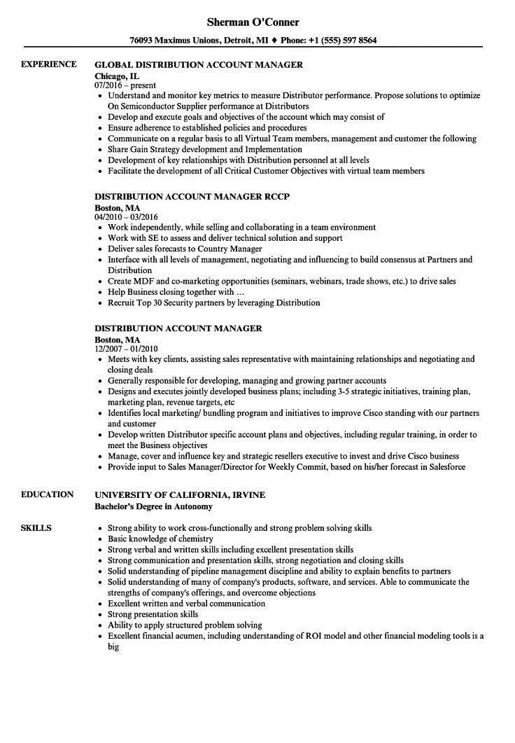 Account Manager Resume Sample Monster Com Account Manager Resume Example Distribution Account Manager R Nursing Resume Examples Resume Examples Resume Skills