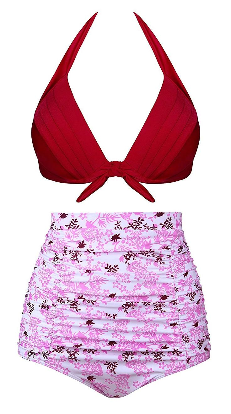 Women Vintage Polka Dot High Waisted Bathing Suits Bikini Set – Red+floral((no Wire) – CR185UEGAXZ Size X-Large (fits like US 8-10)