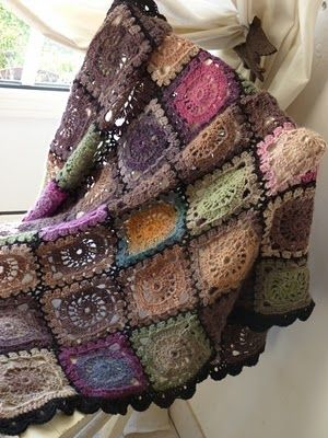 crocheted throw - beautiful colour combination