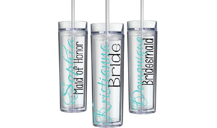 Set of 2 bridesmaid tumblers, skinny bridesmaid cups, acrylic tumblers, bachelorette tumblers, acrylic cup, wedding party cups, personalized by ShopAroundTheCorner3 on Etsy