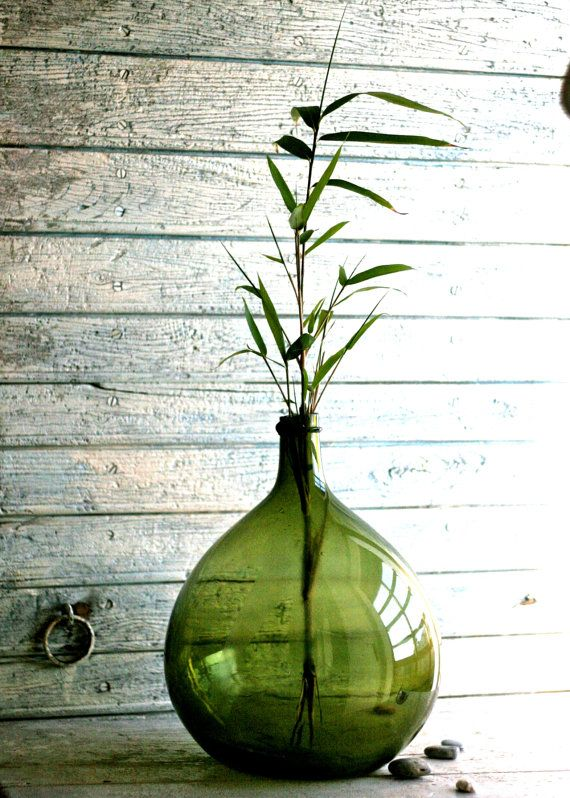 Glass Jar Demijohn Carboy Blown glass Flower pot by Lattepolon
