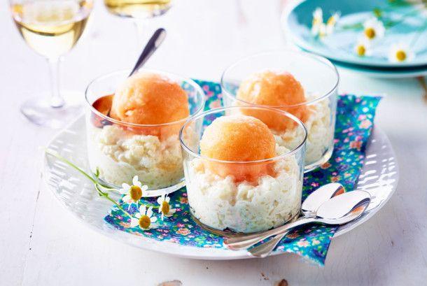 Melonensorbet auf Honigmilchreis Rezept | LECKER