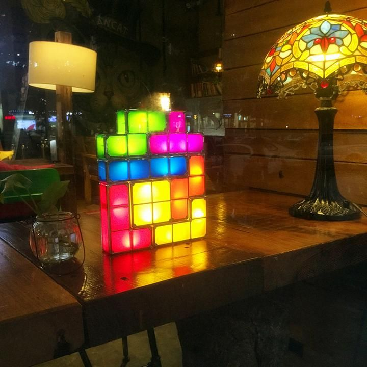 Tetris Led Light Completely Wireless Only The Blue Brick Gets Plugged In This Means You Re Free To Stack Them Into An Retro Desk Lamp Led Lights Cool Lamps