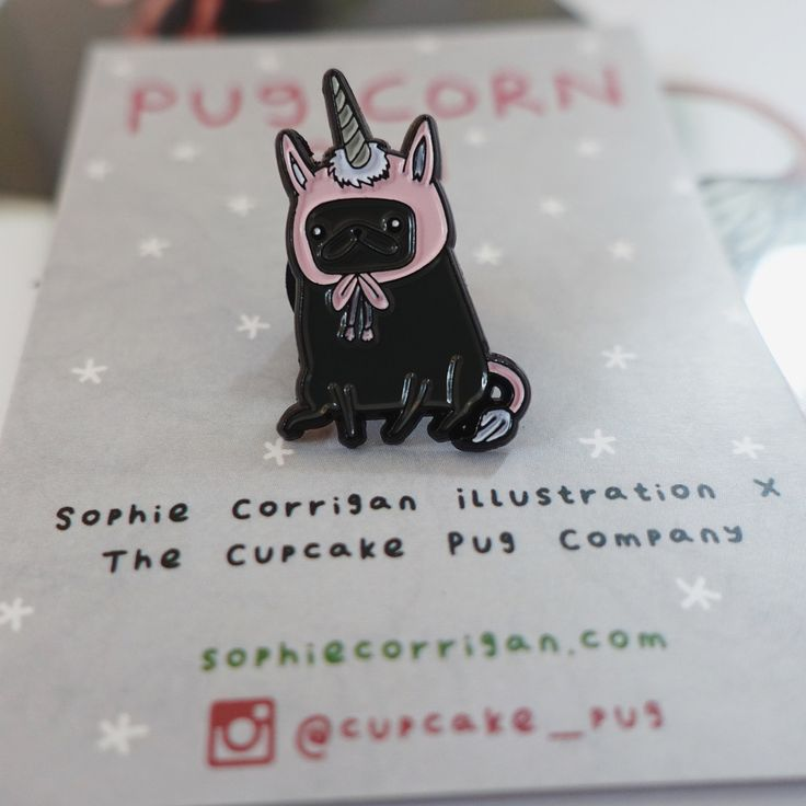 "'Pugicorn' petite enamel Sophie Corrigan ""Pugs in Fancy Dress"" series pin."