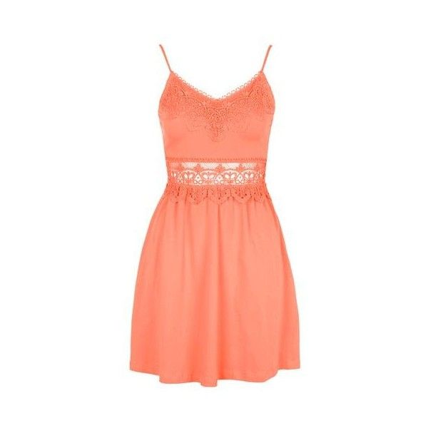 TopShop Petite Crochet Mini Sundress ($13) ❤ liked on Polyvore featuring dresses, vestidos, short dresses, coral, crochet lace dress, crochet doll dresses, babydoll dress, red sun dress and petite sundresses