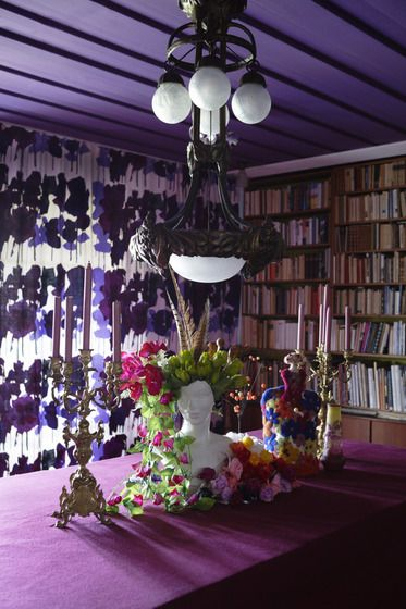 purple library dining room