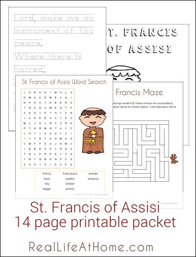 14 page Saint Francis of Assisi Printables Packet