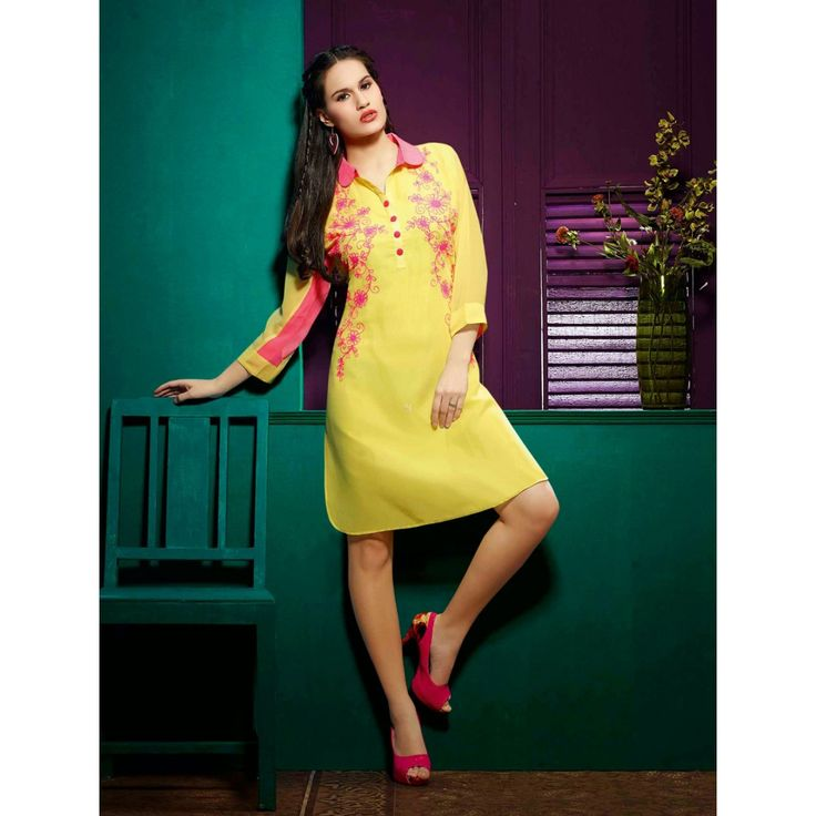 Divine Yellow Georgette Designer #Kurti #Dress #Top #Clothing