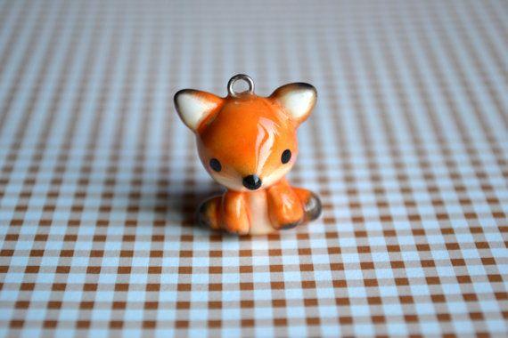 Kawaii Orange Fox Animal Charm by CheekyCharmz on Etsy, $7.00