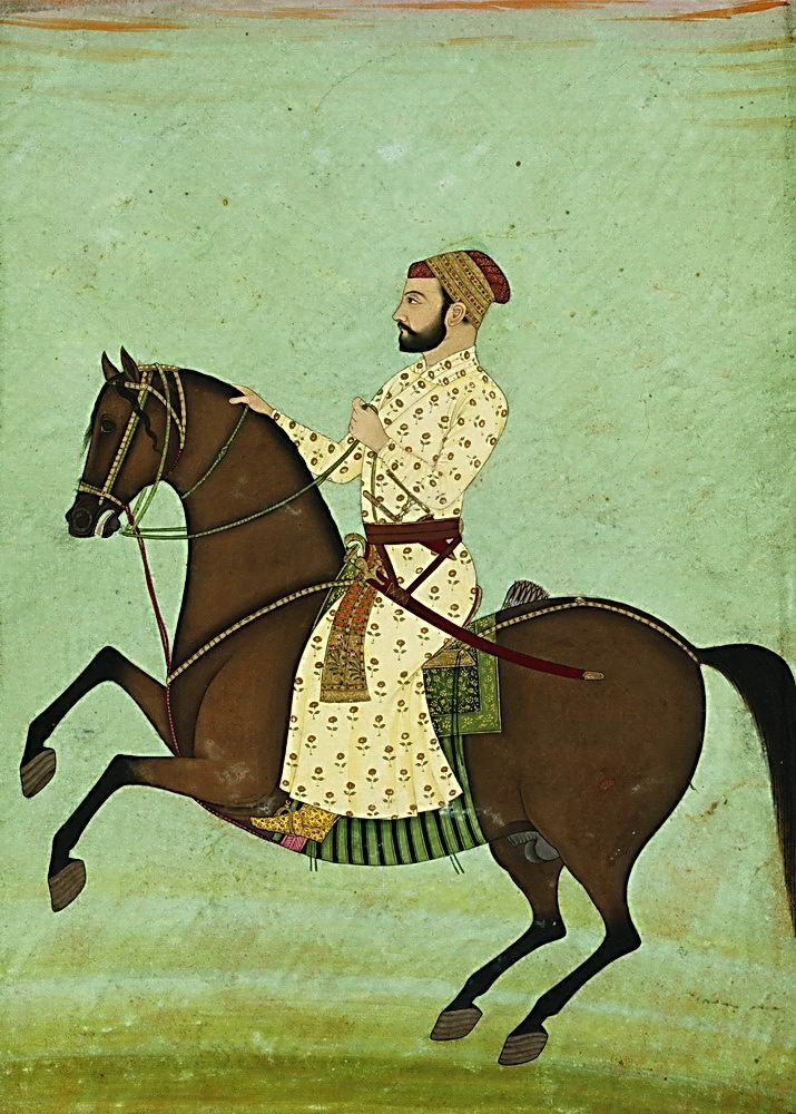 Mughal noble on horseback - miniature painting by Reza Shah Jahngir