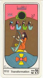 """Carta 21 Transmutaçâo O Mundo As vibrações deste arcano são as das grandes realizações em todas as aspirações da vida. Esta carta traz a certeza e a promessa de inúmeras realizações benéficas , prevê vida longa ,plenitude, satisfações, alegrias, recompensas,sucesso, garantia de que tudo será bom , abençoado e protegido. Esta carta é muito auspiciosa, oferece abundância, satisfação, êxito, """"sorte"""" , felicidades, belos prêmios, amor com triunfo , saúde , paz e harmonia. Lili."""
