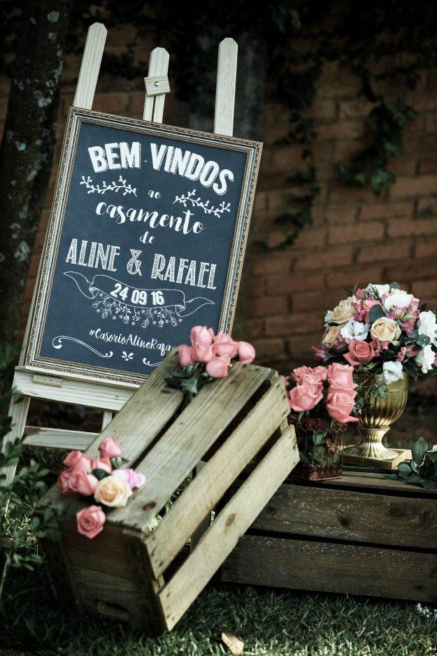 Decoração para Hall de Entrada de Casamento Quadro de Chalkboard, linda inspiração para casamento rústico, boho ou vintage