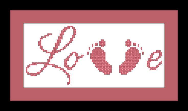 Baby Feet Cross Stitch Pattern LOVE PDF File by threadsandthings1