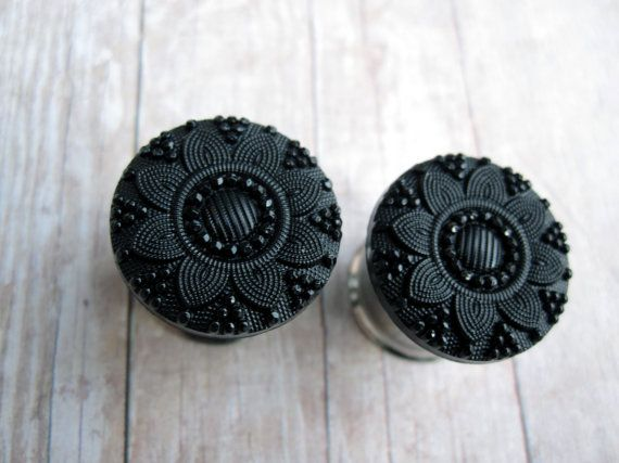 Pair Of Black Embossed Flower Button Plugs