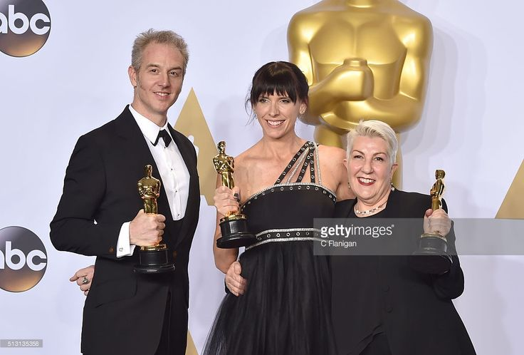 Editor Makeup artists Damian Martin, Elka Wardega, and Lesley Vanderwalt, winners of Best Makeup for 'Mad Max,' pose in the press room during the 88th Annual Academy Awards at Loews Hollywood Hotel on February 28, 2016 in Hollywood, California.