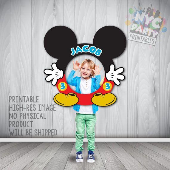 Cadre de stand Photo de Mickey, Mickey Mouse, cadre de Photo Mickey Mouse circulaire de stand, Photo Booth cadre, anniversaire de Mickey