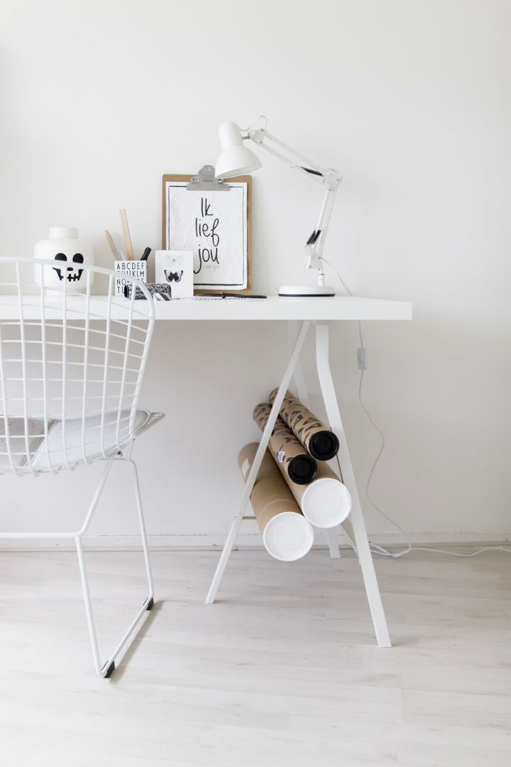 Office / all white / simple / minimal / wood / industrial / interior decor / decoration / home / house /