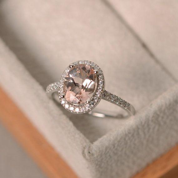 Natuurlijke morganite ring sterling zilver roze edelsteen