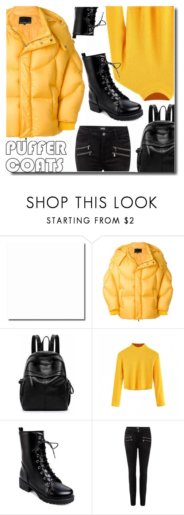 """""""Puffer Coats"""" by soks ❤ liked on Polyvore featuring Chen Peng and Paige Denim"""
