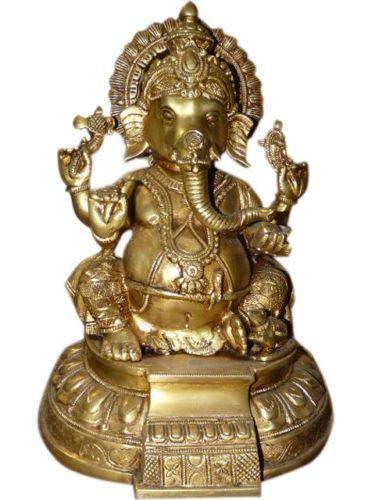 "Hindu God Ganesha Brass Statue Sitting Ganesh Sculpture Spiritual 10"" | eBay $203.50"