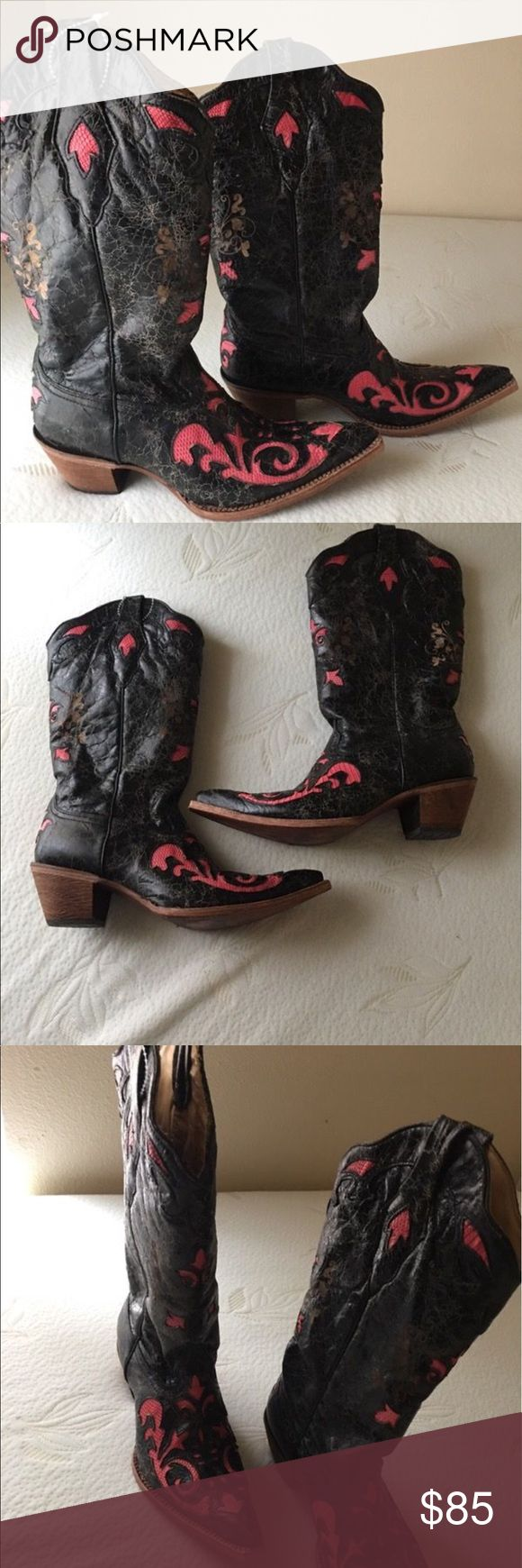 Brand New Coral Cowboy Boots-NWT Brand new, never worn. Purchased from Country Outfitters for $250. Genuine leather, pink lizard inlay. Size 10 Shoes Heeled Boots
