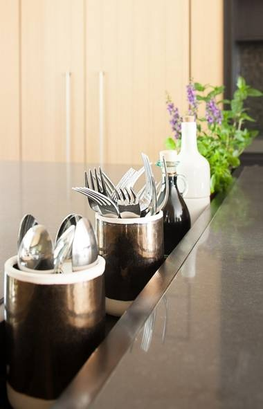 A steel trough four-inches deep is incorporated between the counter's two zones. The trough allows for the easy storage of fresh herbs for cooking as well as cutlery, oil and vinegar, salt and pepper to service the table area.: Modern Farmhouse, Cutlery Holder, Barns Houses, Decks Design, Deck Design, Kitchens Details, Kitchens Ideas, Design 81, Amazing Ideas