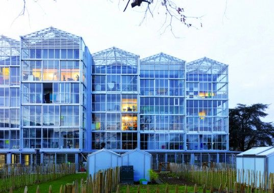 """""""inhabitants of BORÉAL in Nantes, France ... each have their own gardening space! The social housing project has 39 apartments designed by local firm TETRARC, and each unit enjoys a light-filled, glass-clad living space and a garden plot on the ground floor for growing. The innovative project is an exploration of materials, light and gardening as a means towards socially sustainable housing."""" apartments: garden included! question of affordability?"""