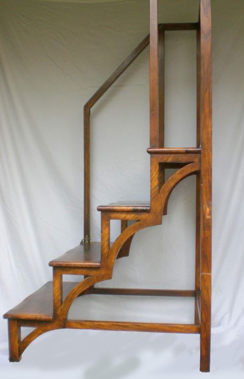 Antique Mahogany Library Ladder