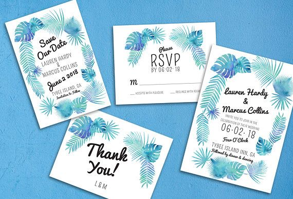 Summer Blue Palms Wedding - Mailer Package | Save the Date | Invitation | Reply Card Package | Thank You