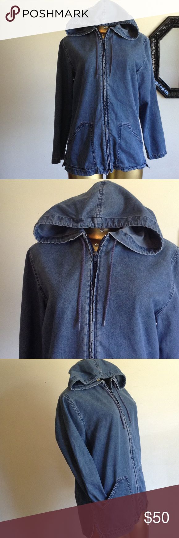 MUST HAVE DENIM ZIP UP HOODIE WITH POCKETS MUST HAVE DEMIN ZIP UP HOODIE WITH FRONT POCKETS Jackets & Coats