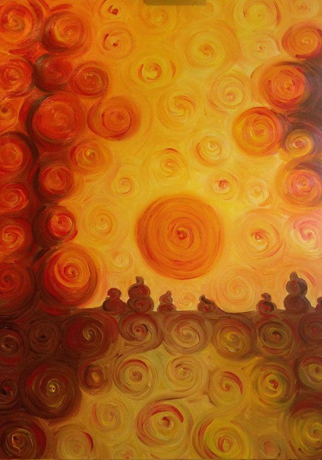 Dipinti ad olio: Tramonto in autunno