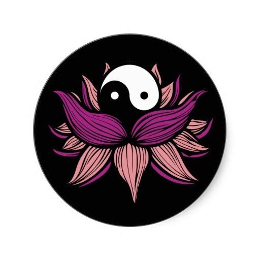 Lotus Flower and Yin Yang Classic Round Sticker