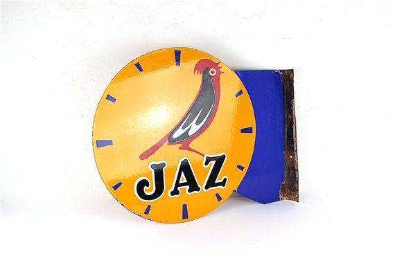 Exceptional JAZ Clock Advertisement Sign. by LePasseRecompose