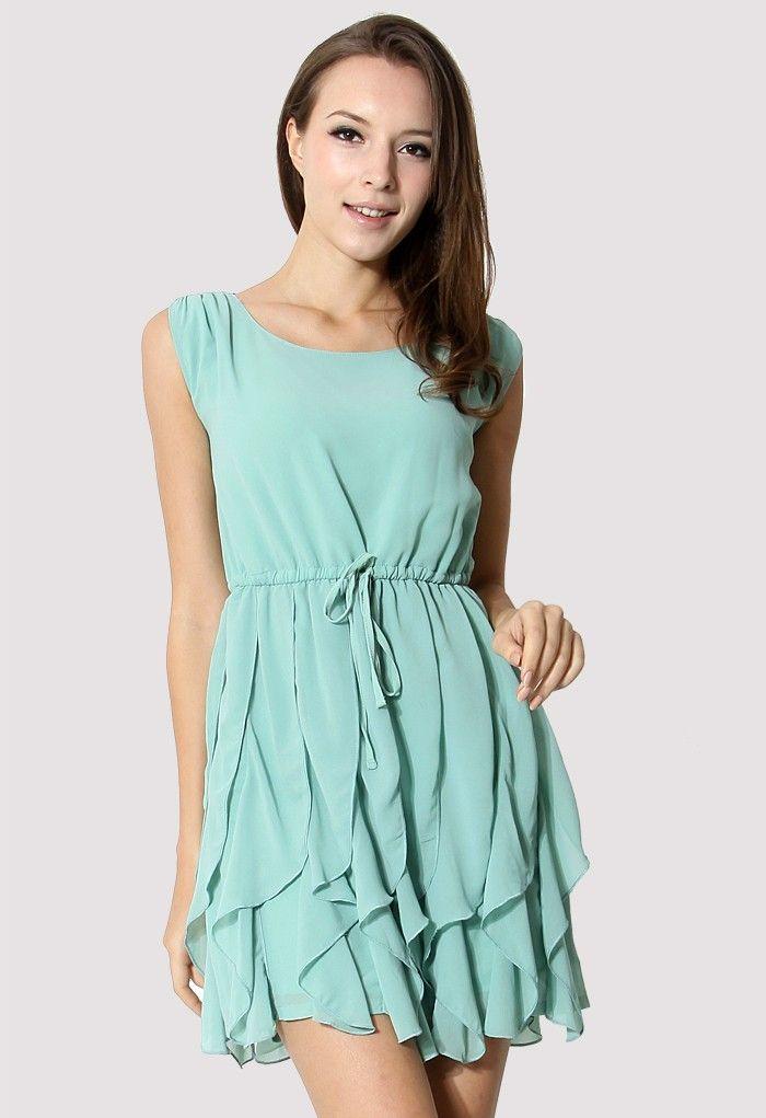 Jade Green Flouncing Sleeveless Chiffon Dress