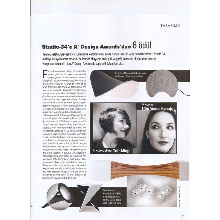 Maison Francaise / Mayis 2015  Studio-34'e A'Design Awards'dan 6 ödül