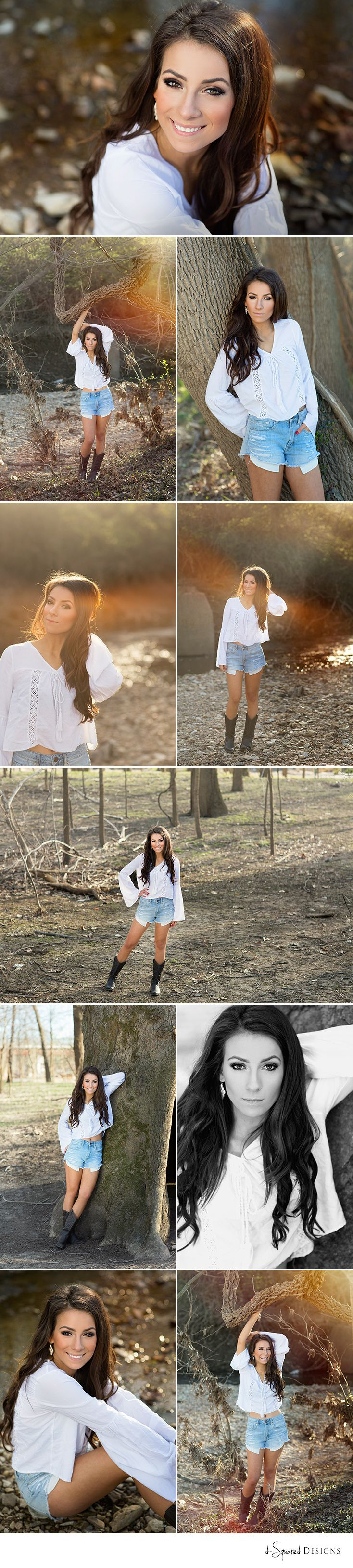 Senior portraits. Senior photography. Spring Senior Session. Gorgeous senior. Woods. River. Creek. d-Squared Designs St. Louis, MO Senior Photography