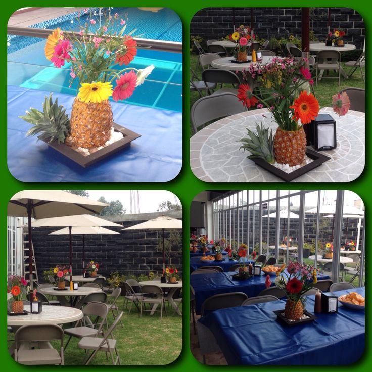 Centros de mesa para fiesta hawaiana fiesta hawaina - Centros de mesa con pinas ...