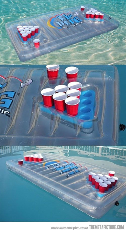 Inflatable Beer Pong Table. This is, absolutely, a good idea. If only we had a pool to use this is @carly k. Mayes