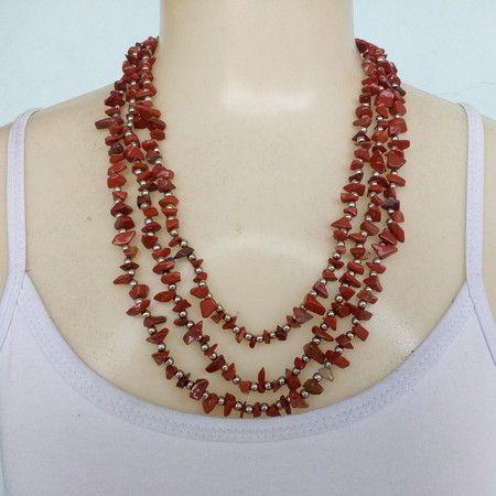 Colar De Pedra Natural Jaspe Vermelho Ref: 4539
