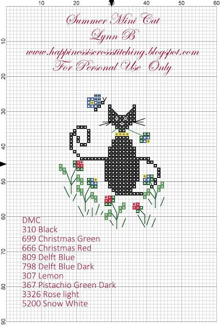 Happiness is Cross Stitching : Freebie Friday - Summer Cat Cross Stitch Pattern