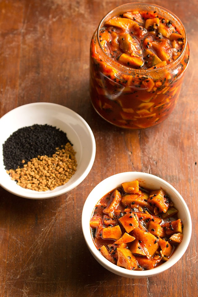 sweet and sour mango pickle made with raw mangoes, jaggery and spices.....