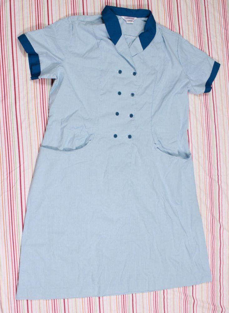 Work Uniform Dress Sz 3 XL Green White Striped Fashion Seal Button Front Pockets #FashionSeal #Dress