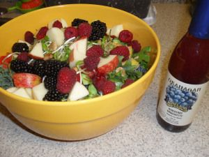 Fruits of passion salad recipe and dressing  This is a very filling salad that has all your major raw food groups involved.  Make sure you wash all your veggies and fruits before adding them into your salad.