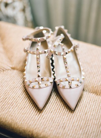 Nude studded Valentino flats: http://www.stylemepretty.com/2015/06/11/20-chic-shoes-that-wont-sink-in-the-grass/