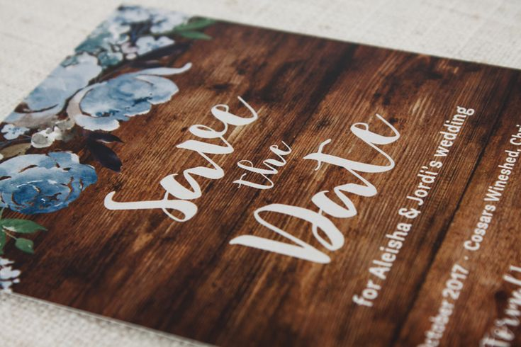 Dusky Blue Peonies on Wood Save the Date - Be My Guest