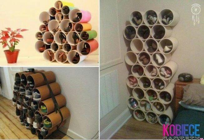 guarda-zapatos con tubos de carton                                                                                                                                                                                 Más