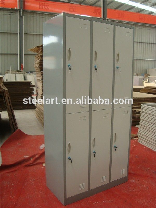 Knock Down Popular Employee Locker Worker Locker 6 Door Metal Locker