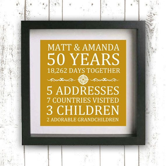 Printable Custom Anniversary Print - 50th Anniversary - Golden Anniversary - Family Established Sign - Gold